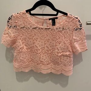 Forever 21 pink lace cropped top